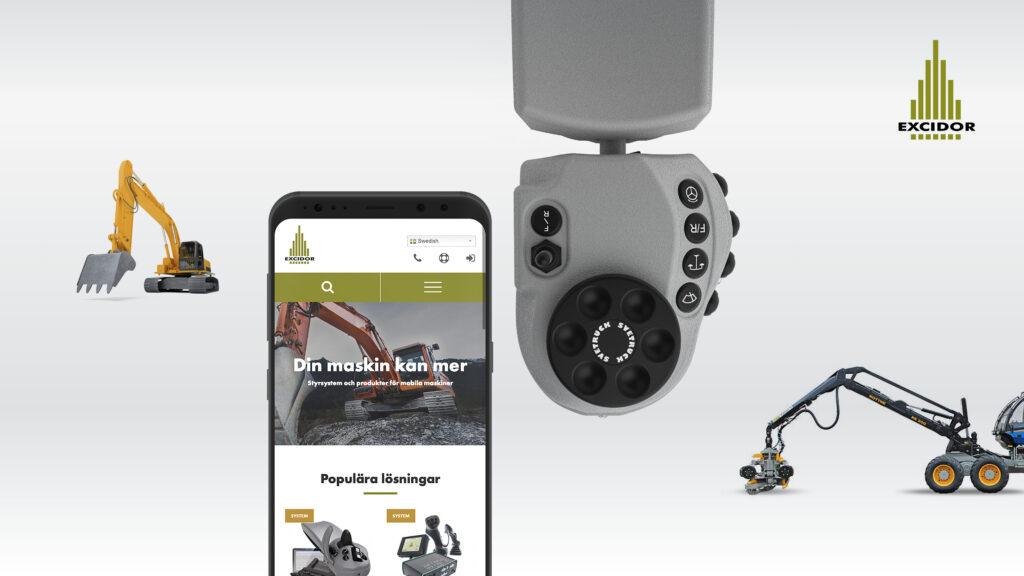 Kollage med mobil, produkt och maskiner