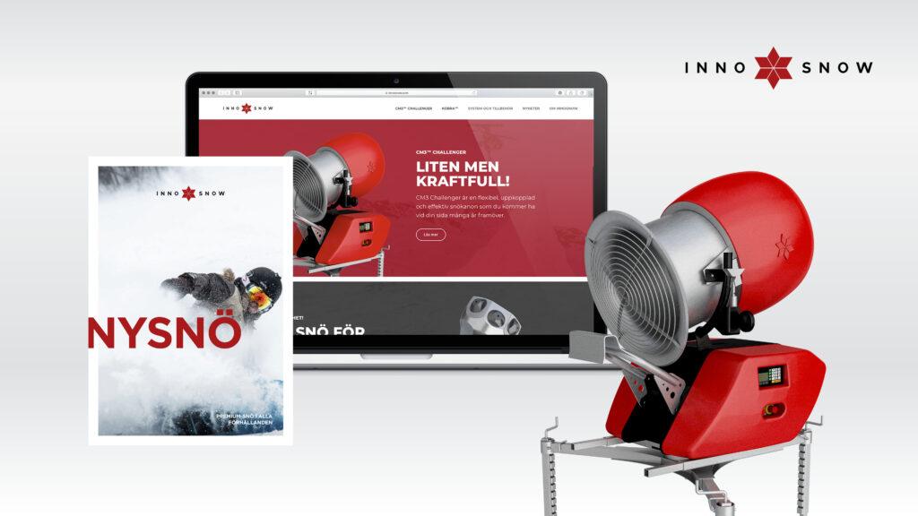 Kollage med webbplats och trycksak